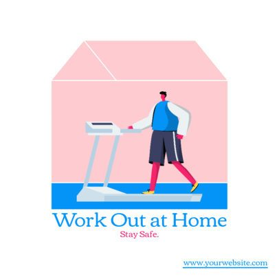Instagram Post Maker Featuring Home Workout Illustrations 1480-el1