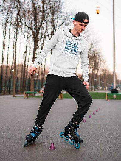 Full-Zip Hoodie Mockup of a Man on Roller Skates 34641-r-el2