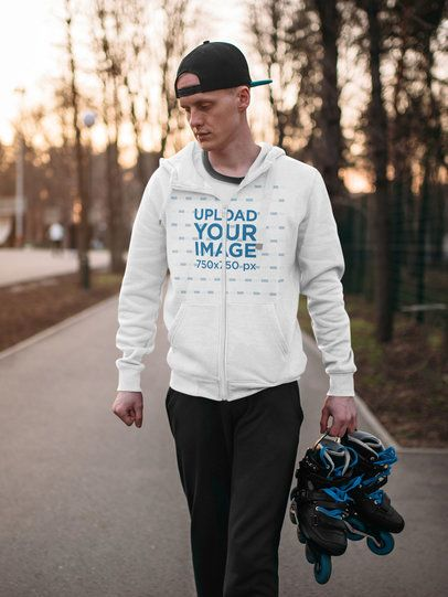 Full-Zip Hoodie Mockup Featuring a Man with Roller Skates 34642-r-el2