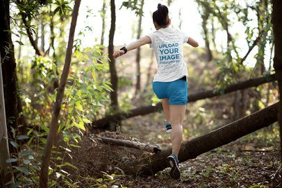 Back-View Tee Mockup of a Woman Running in the Woods 34563-r-el2