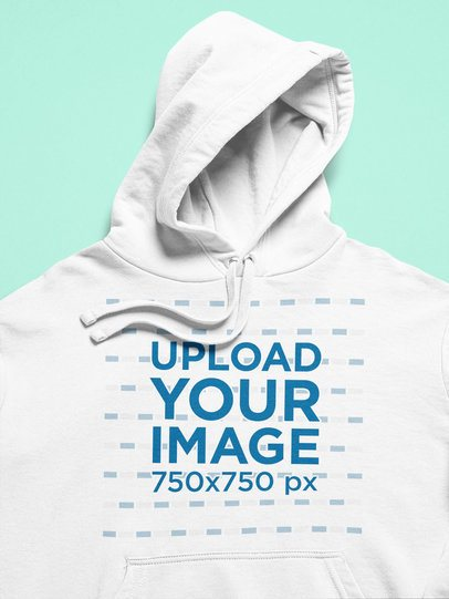 Closeup View Mockup of a Pullover Hoodie over a Flat Surface 25348