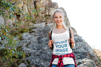 Tank Top Mockup of a Happy Woman Hiking at the Mountains 34201-r-el2