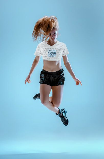 Crop Top Tee Mockup of a Dancer Jumping 34586-r-el2