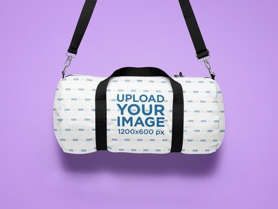 Sublimated Duffle Bag Mockup Featuring a Minimalist Setting 25741