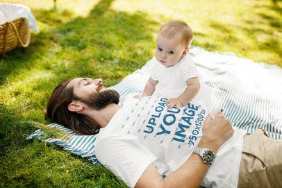 T-Shirt Mockup of a Young Dad on a Picnic with His Baby 34708-r-el2
