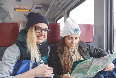 Beanie Mockup of a Young Woman in a Train with Her Friend 34525-r-el2