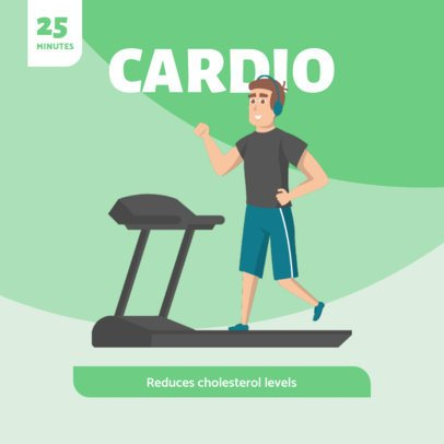 Instagram Post Template Featuring a Cardio Routine Benefits 1478a-el1