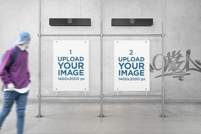 Mockup of Two Posters in an Urban Gallery 4103-el1