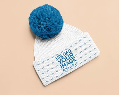 Mockup of a Beanie with a Pom-Pom 25340