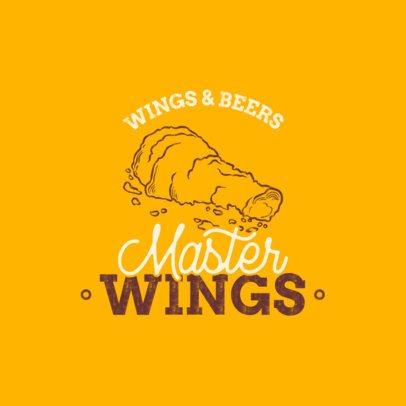 Wings Bar Logo Maker with a Line Art Illustration 1487c-el1