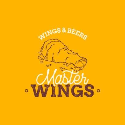 Wings Bar Logo Maker with a Line Art Illustration 1487c-el1