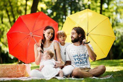 T-Shirt Mockup of a Man at a Picnic with His Family 34688-r-el2