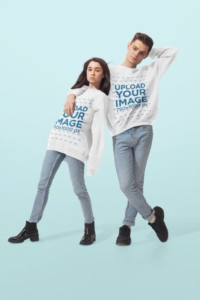 Mockup of Two Friends with Oversized Sweatshirts Posing at a Studio 34590-r-el2