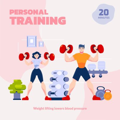 Illustrated Instagram Post Generator for Weightlifting at Home 1482a-el1