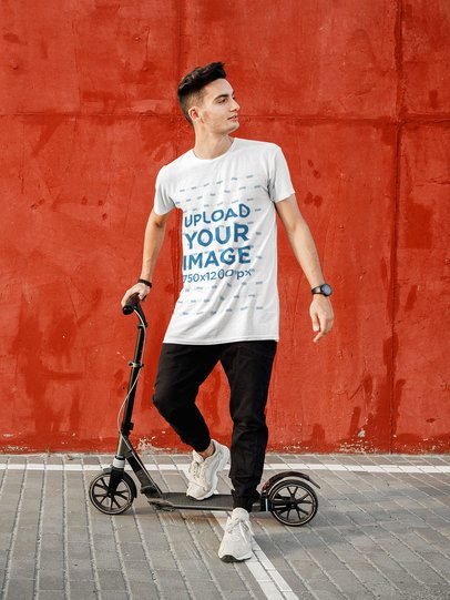 T-Shirt Mockup of a Man on a Scooter 34629-r-el2