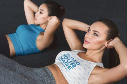Sports Bra Mockup of Women Doing Ab Crunches 34781-r-el2