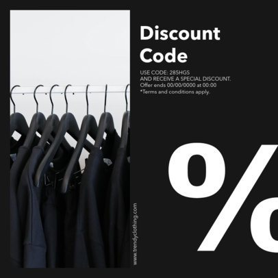 Minimalist Instagram Post with a Discount Code for Clothing Stores 1450c-el1