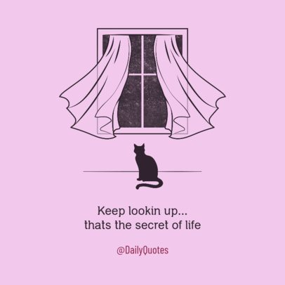 Facebook Post Creator Featuring a Quote and an Illustrated Cat 2539d