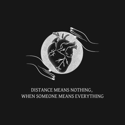 Facebook Post Template Featuring a Love Quote and a Human Heart Graphic 2539j