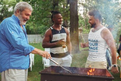 Tank Top Mockup of a Man at a Barbecue Party with His Friends 34596-r-el2