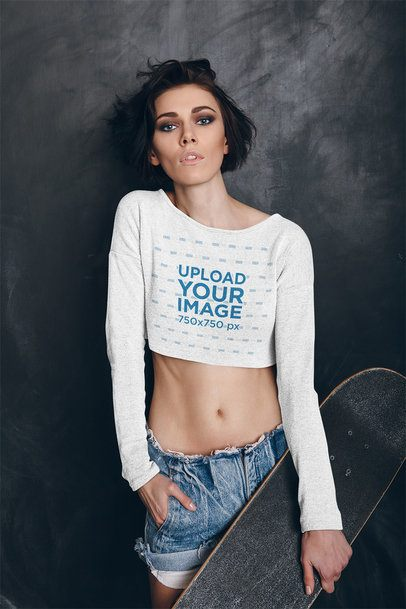 Crop Top Tee Mockup of a Woman Holding a Skateboard 35117-r-el2