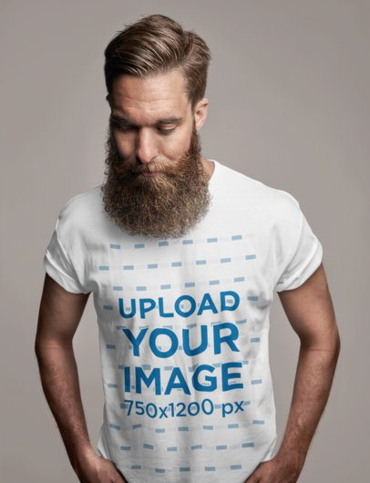 T-Shirt Mockup of a Man with a Long Beard at a Studio 34108-r-el2