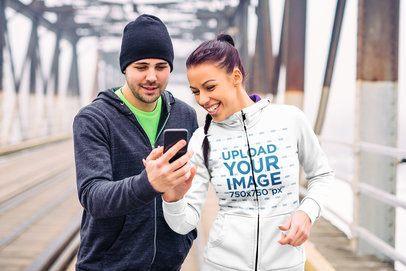 Mockup of Two Joggers on a Bridge Wearing Full-Zip Hoodies 34176-r-el2