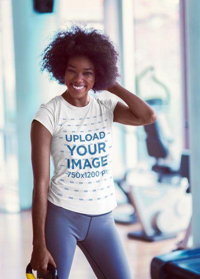T-Shirt Mockup of a Smiling Woman at the Gym 34450-r-el2