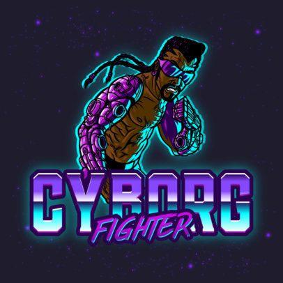 Retro-Futuristic Logo Template with a Cyborg Fighter 3279h
