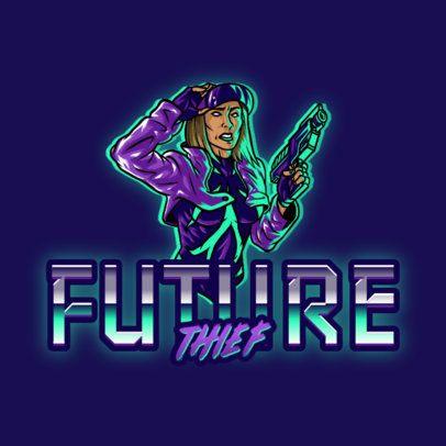 Logo Creator  Featuring a Female Shooter with a Retro Futuristic Style 3279i