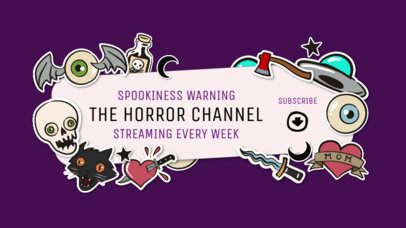 YouTube Banner Creator for a Horror Channel Featuring Kawaii Stickers 2536e