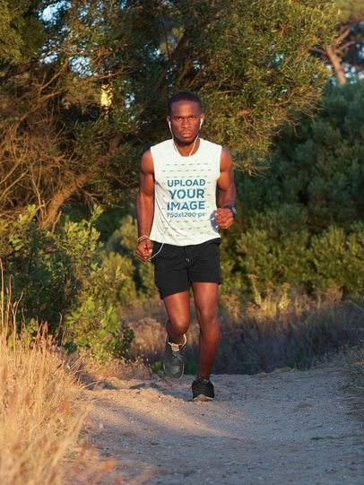 Tank Top Mockup of a Man Running in Nature 34638-r-el2