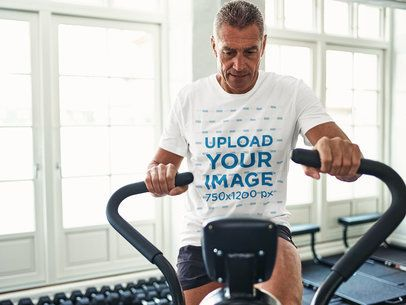 T-Shirt Mockup of a Man Working Out on a Stationary Bike 34278-r-el2