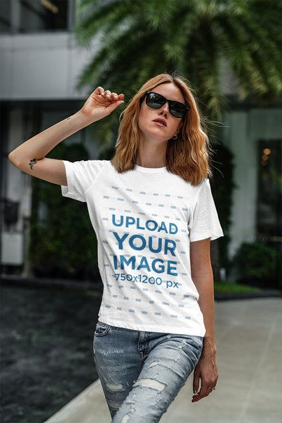 Mockup Featuring a Cool Woman With Sunglasses Wearing a Customizable T-Shirt 4320-el1