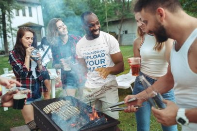 T-Shirt Mockup of a Man at a Barbecue with Friends 34602-r-el2