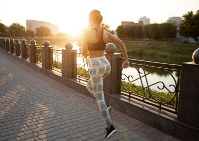 Leggings Mockup of a Woman Running by a River 34418-r-el2