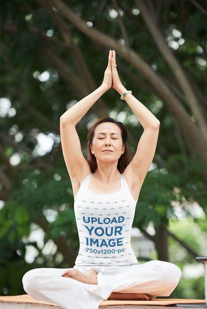 Tank Top Mockup of an Adult Woman Doing Yoga at a Park 34228-r-el2