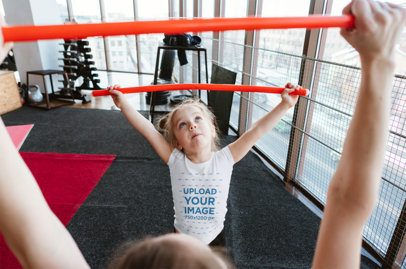 Tee Mockup of a Little Girl Training with Her Mom 34326-r-el2