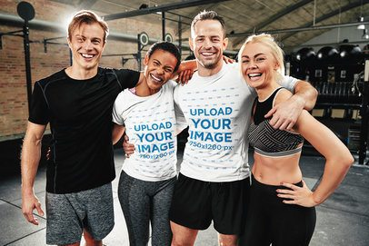 Round Neck Tee Mockup of Fitness Coaches Smiling at a Gym 34269-r-el2