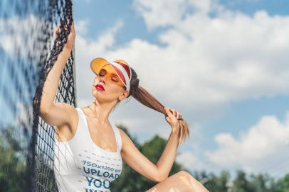 Tank Top Mockup of a Woman with a Tennis Visor 34365-r-el2