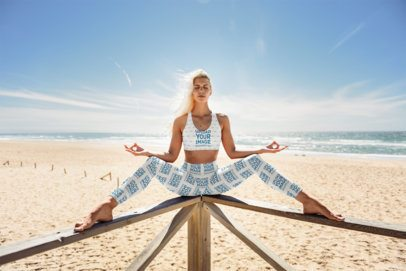 Sports Bra and Leggings Mockup of a Woman at the Beach 34689-r-el2
