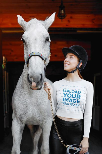 Crop Top Tee Featuring a Woman Standing Next to Her Horse 34356-r-el2