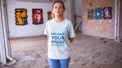 T-Shirt Video of a Woman in an Urban Art Gallery 13047