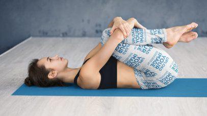 Leggings Mockup of a Woman Stretching on a Yoga Mat 34539-r-el2