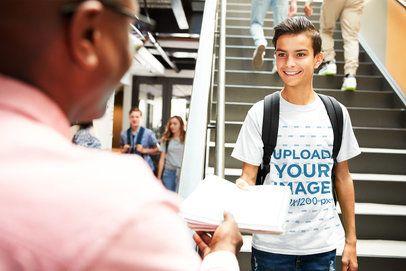 T-Shirt Mockup of a Teenager Talking to a Teacher 34460-r-el2