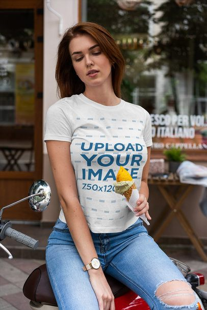 T-Shirt Mockup Featuring a Woman Holding an Ice Cream Cone 4294-el1