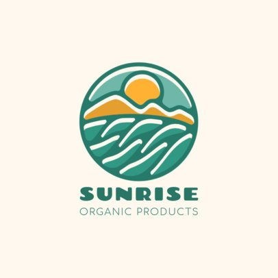 Organic Products Brand Logo Template with a Sunrise Icon 1595b-el1