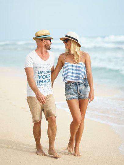 T-Shirt Mockup Featuring a Happy Couple Walking on the Beach 34367-r-el2