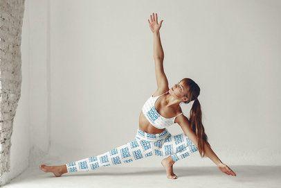 Sports Bra and Leggings Mockup of a Woman Doing Yoga 34362-r-el2