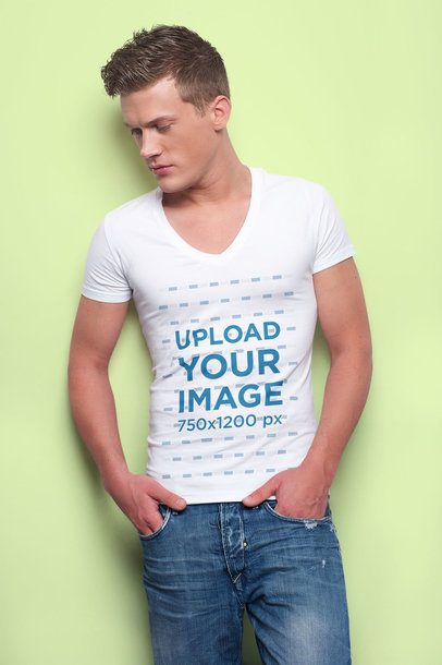 V-Neck Tee Mockup Featuring a Man with a Modern Haircut at a Studio 34645-r-el2